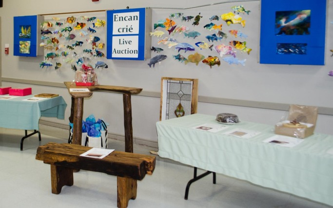 Live Auction with fish display