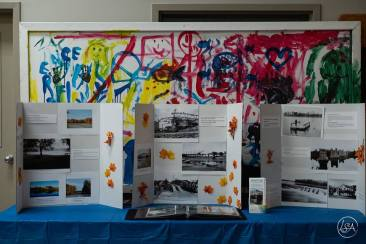 History of Jessup's Falls with a backdrop by children - the future of Jessup's Falls